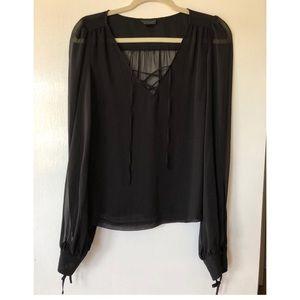 TOPSHOP Black Lace Front Blouse
